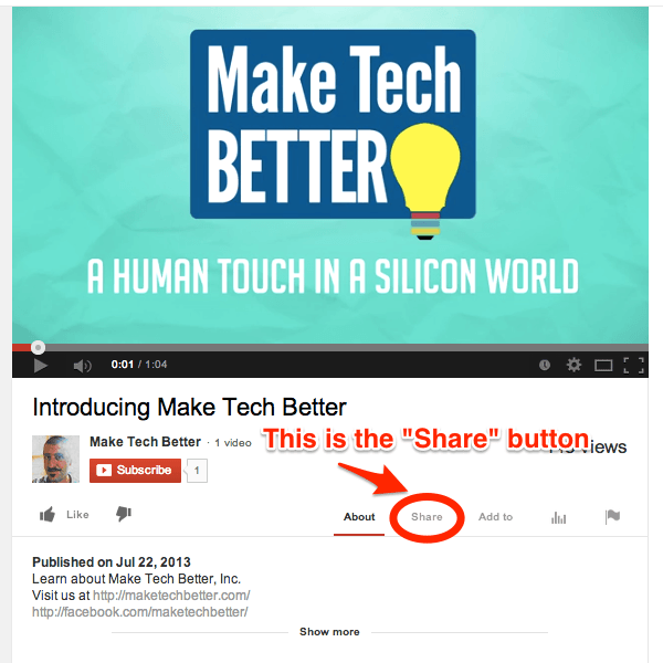 Locate the Share Button